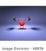 #48839 Royalty-Free (Rf) Illustration Of A Romantic 3d Red Love Heart Mascot Lifting A Barbell - Version 1