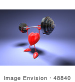 #48840 Royalty-Free (Rf) Illustration Of A Romantic 3d Red Love Heart Mascot Lifting A Barbell - Version 2
