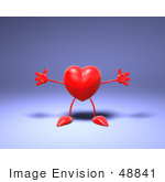 #48841 Royalty-Free (Rf) Illustration Of A Romantic 3d Red Love Heart Mascot Holding His Arms Open - Version 2