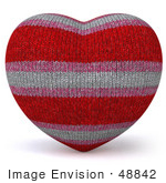 #48842 Royalty-Free (Rf) Illustration Of A 3d Fabric Striped Love Heart