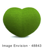 #48843 Royalty-Free (Rf) Illustration Of A 3d Grassy Green Love Heart