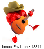 #48844 Royalty-Free (Rf) Illustration Of A 3d Red Love Heart Mascot Country Musician