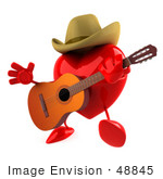 #48845 Royalty-Free (Rf) Illustration Of A 3d Red Love Heart Mascot Playing Country Music