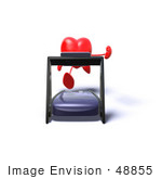 #48855 Royalty-Free (Rf) Illustration Of A Romantic 3d Red Love Heart Mascot Running On A Treadmill - Version 4