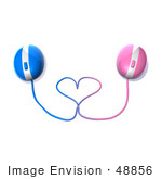 #48856 Royalty-Free (Rf) Illustration Of 3d Pink And Blue Computer Mice With Their Cables Forming A Love Heart - Version 1