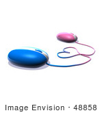 #48858 Royalty-Free (Rf) Illustration Of 3d Pink And Blue Computer Mice With Their Cables Forming A Love Heart - Version 2