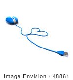 #48861 Royalty-Free (Rf) Illustration Of A 3d Blue Computer Mouse With The Cable Forming A Love Heart - Version 1