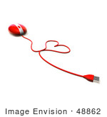 #48862 Royalty-Free (Rf) Illustration Of A 3d Red Computer Mouse With The Cable Forming A Love Heart - Version 3