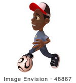 #48867 Royalty-Free (Rf) Illustration Of A 3d Black Boy Playing Soccer - Version 2