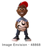 #48868 Royalty-Free (Rf) Illustration Of A 3d Black Boy Holding A Soccer Ball