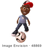 #48869 Royalty-Free (Rf) Illustration Of A 3d Black Boy Playing Soccer - Version 1