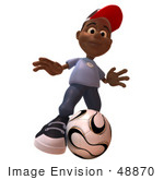 #48870 Royalty-Free (Rf) Illustration Of A 3d Black Boy Playing Soccer - Version 3