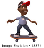 #48874 Royalty-Free (Rf) Illustration Of A 3d Black Boy Skateboarding - Version 1