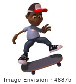 #48875 Royalty-Free (Rf) Illustration Of A 3d Black Boy Skateboarding - Version 3