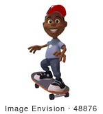 #48876 Royalty-Free (Rf) Illustration Of A 3d Black Boy Skateboarding - Version 2