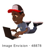 #48878 Royalty-Free (Rf) Illustration Of A 3d Black Boy Using A Laptop - Version 1
