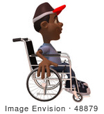 #48879 Royalty-Free (RF) Illustration of a 3d Black Boy In A Wheelchair by Julos