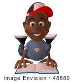#48880 Royalty-Free (Rf) Illustration Of A 3d Black Boy Reading A Book On His Belly - Version 1