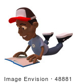 #48881 Royalty-Free (Rf) Illustration Of A 3d Black Boy Reading A Book On His Belly - Version 2