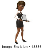 #48886 Royalty-Free (Rf) Illustration Of A 3d Black Businesswoman Holding A Laptop - Version 2