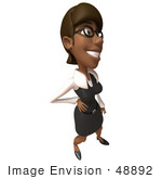 #48892 Royalty-Free (Rf) Illustration Of A 3d Black Businesswoman Standing With One Hand On Her Hip - Version 3