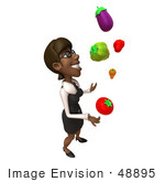 #48895 Royalty-Free (Rf) Illustration Of A 3d Black Businesswoman Juggling Veggies - Pose 2