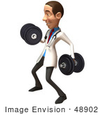 #48902 Royalty-Free (Rf) Illustration Of A 3d White Male Doctor Lifting Dumbbells - Version 2