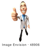 #48906 Royalty-Free (Rf) Illustration Of A 3d White Male Doctor Giving The Thumbs Up - Version 3