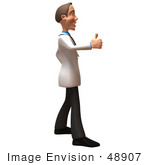 #48907 Royalty-Free (Rf) Illustration Of A 3d White Male Doctor Giving The Thumbs Up - Version 2