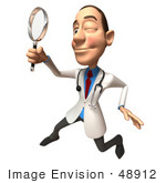#48912 Royalty-Free (Rf) Illustration Of A 3d White Male Doctor Using A Magnifying Glass - Version 4