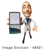 #48921 Royalty-Free (Rf) Illustration Of A 3d White Male Doctor Holding A Cell Phone - Version 4
