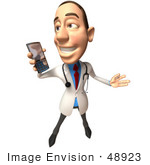 #48923 Royalty-Free (Rf) Illustration Of A 3d White Male Doctor Holding A Cell Phone - Version 3