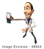 #48924 Royalty-Free (Rf) Illustration Of A 3d White Male Doctor Holding A Cell Phone - Version 8