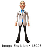 #48926 Royalty-Free (Rf) Illustration Of A 3d White Male Doctor Standing And Facing Front