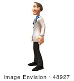 #48927 Royalty-Free (Rf) Illustration Of A 3d White Male Doctor Standing And Facing Left