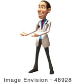 #48928 Royalty-Free (Rf) Illustration Of A 3d White Male Doctor Smiling And Presenting
