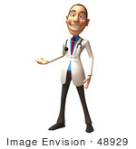 #48929 Royalty-Free (Rf) Illustration Of A 3d White Male Doctor Presenting