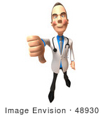 #48930 Royalty-Free (Rf) Illustration Of A 3d White Male Doctor Giving The Thumbs Down
