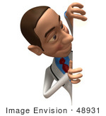 #48931 Royalty-Free (Rf) Illustration Of A 3d White Male Doctor Looking Around A Blank Sign - Version 2