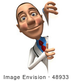 #48933 Royalty-Free (Rf) Illustration Of A 3d White Male Doctor Looking Around A Blank Sign - Version 1
