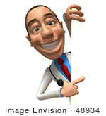 #48934 Royalty-Free (Rf) Illustration Of A 3d White Male Doctor Looking Around A Blank Sign - Version 3