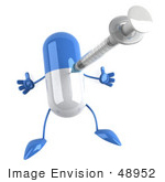 #48952 Royalty-Free (Rf) Illustration Of A 3d Blue And White Capsule Pill Mascot Pricked With A Syringe