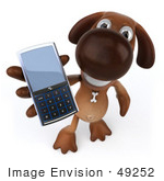 #49252 Royalty-Free (Rf) Illustration Of A 3d Brown Dog Mascot Holding A Cell Phone