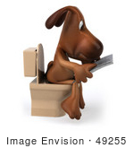 #49255 Royalty-Free (Rf) Illustration Of A 3d Brown Dog Mascot Reading On A Toilet - Pose 2