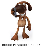 #49256 Royalty-Free (Rf) Illustration Of A 3d Brown Dog Mascot Talking On A Cell Phone