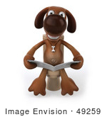 #49259 Royalty-Free (Rf) Illustration Of A 3d Brown Dog Mascot Reading On A Toilet - Pose 1