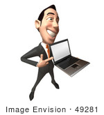 #49281 Royalty-Free (Rf) Illustration Of A 3d Asian Businessman Holding A Laptop With A Blank Screen - Version 4