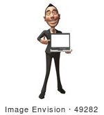 #49282 Royalty-Free (Rf) Illustration Of A 3d Asian Businessman Holding A Laptop With A Blank Screen - Version 1