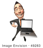 #49283 Royalty-Free (Rf) Illustration Of A 3d Asian Businessman Holding A Laptop With A Blank Screen - Version 3