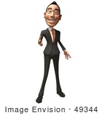 #49344 Royalty-Free (Rf) Illustration Of A 3d Asian Businessman Pointing His Fingers Like A Gun - Version 1